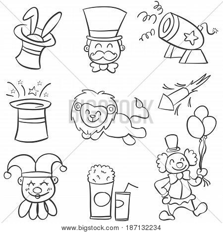 Collection element circus of doodles vector illustration