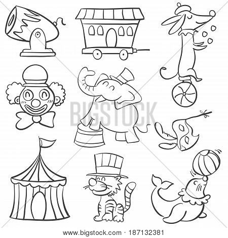 Cute animal circus of doodle style hand draw