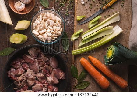 Vegetables and meat for cooking kasul with pork and lamb top view horizontal