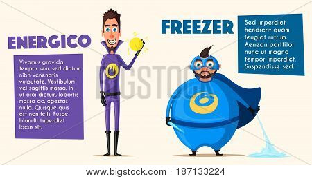 Set of superhero. Cartoon vector illustratration. Characters in uniform. For banners and posters. Good men. Hero person.
