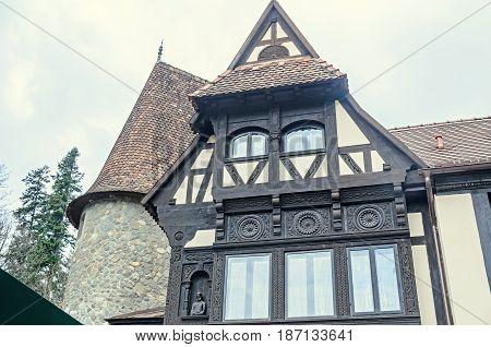 Sinaia, Romania - April 4, 2017: The Peles Castle From Sinaia Romania, Exterior Detail
