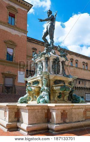 Italy Bologna Del Nettuno square side view of the Neptune fountain