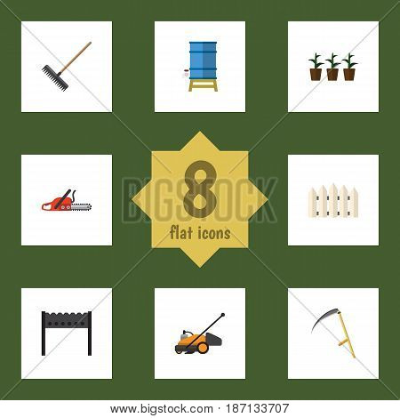 Flat Dacha Set Of Hacksaw, Container, Flowerpot And Other Vector Objects. Also Includes Mower, Saw, Cutter Elements.