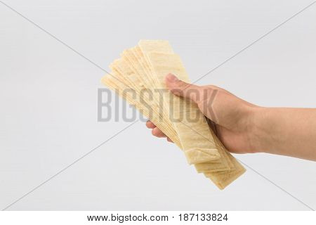 Golden Chips On A White Background. Snack.
