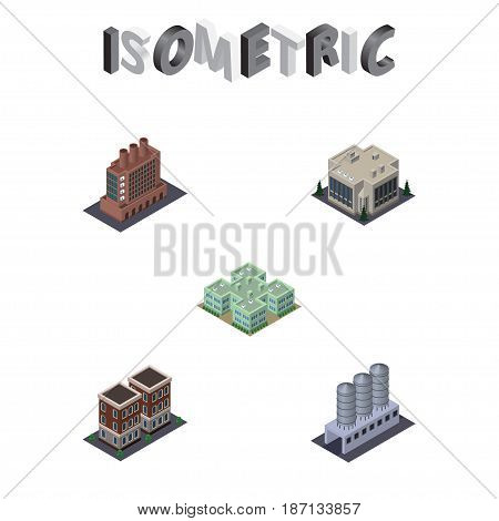 Isometric Construction Set Of Clinic, Industry, Water Storage And Other Vector Objects. Also Includes Company, Clinic, Industry Elements.
