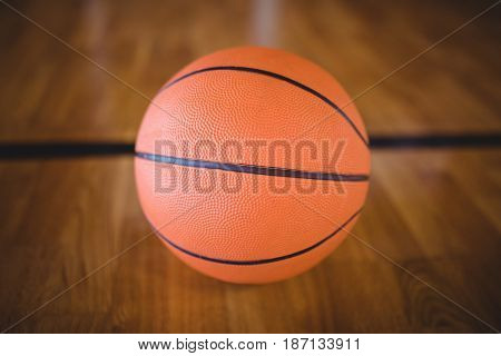Close-up of basketball in the court