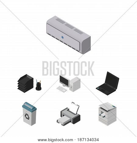 Isometric Work Set Of Laptop, Scanner, Printing Machine And Other Vector Objects. Also Includes Air, Junk, File Elements.