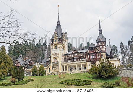The Peles Castle From Sinaia Romania, Carpathian Mountains