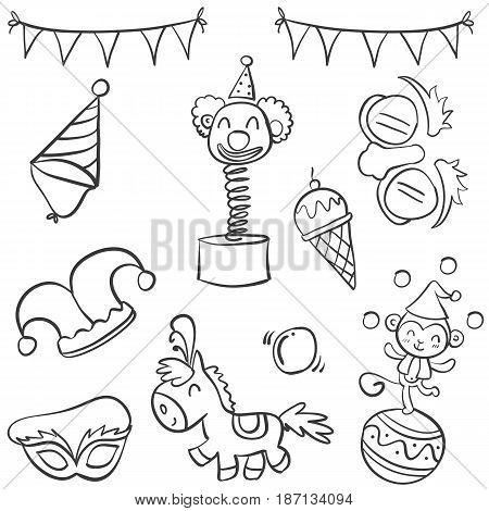 Doodle of circus object hand draw style vector illustration