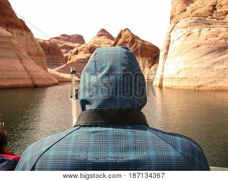 A Tourist by Lake Powell boat tour
