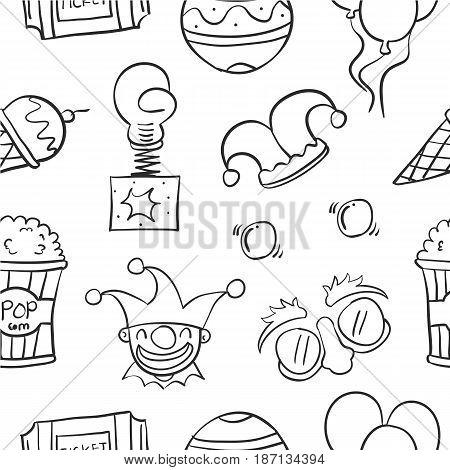 Element circus hand draw pattern vector illustration