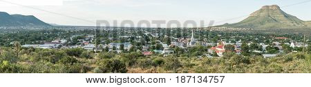 GRAAFF REINET SOUTH AFRICA - MARCH 23 2017: A panoramic view of Graaff Reinet with more than 200 buildings in the town declared as a national monuments