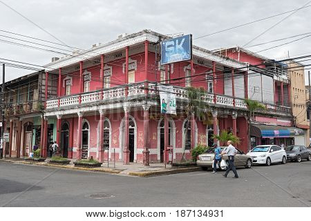 PUERTO LIMON, COSTA RICA-MARCH 20, 2017: Red house in Puerto Limon, Costa Rica