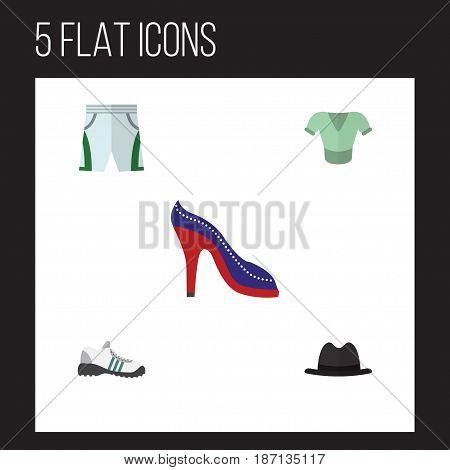 Flat Clothes Set Of Trunks Cloth, Heeled Shoe, Casual And Other Vector Objects. Also Includes Cloth, Sandal, Hat Elements.