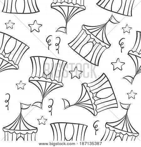 Tent circus hand draw pattern collection vector art