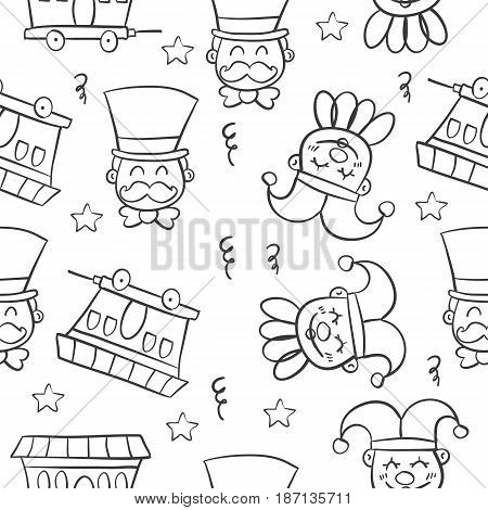 Hand draw circus object doodles vector illustration