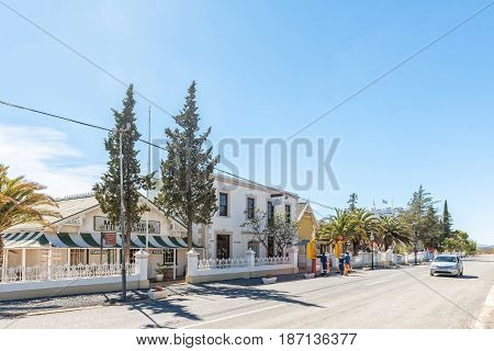 MATJIESFONTEIN SOUTH AFRICA - APRIL 2 2017: A street scene in the historic Victorian village of Matjiesfontein. The whole town is a national monument