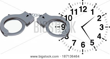 Clock with locked handcuffs Clock with locked handcuffs