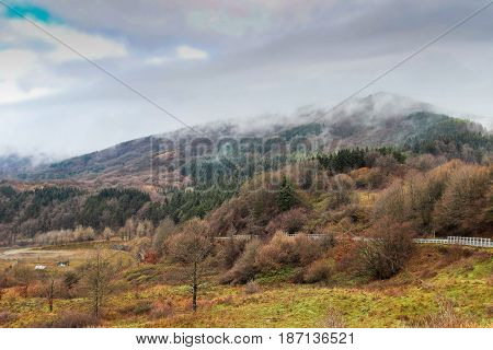 View of autumn Apennine mountains Italy. Nature