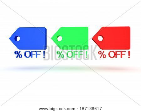 3D illustration of multi colored price cuts badges. Images can be used in sales promotions by any sort of store.