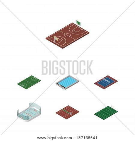 Isometric Lifestyle Set Of B-Ball, Ice Games, American Football And Other Vector Objects. Also Includes B-Ball, Football, Ice Elements.