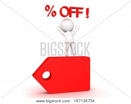 3D Character jumping cheerfully on price cut badge tag. Images can be used in sales promotions by any sort of store.