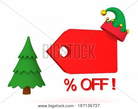 3D illustration showing christmas holiday price cut reduction or sales promotion. Image depicting the Christmas sale.