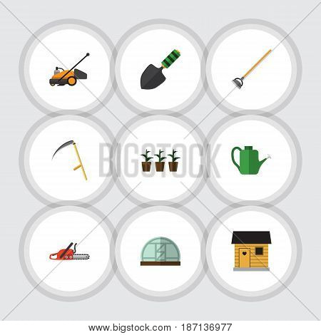 Flat Dacha Set Of Tool, Lawn Mower, Trowel And Other Vector Objects. Also Includes Trowel, Spatula, Flowerpot Elements.