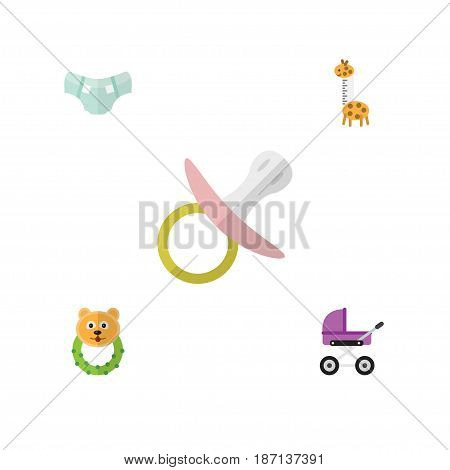 Flat Child Set Of Rattle, Stroller, Toy And Other Vector Objects. Also Includes Pampers, Stroller, Baby Elements.