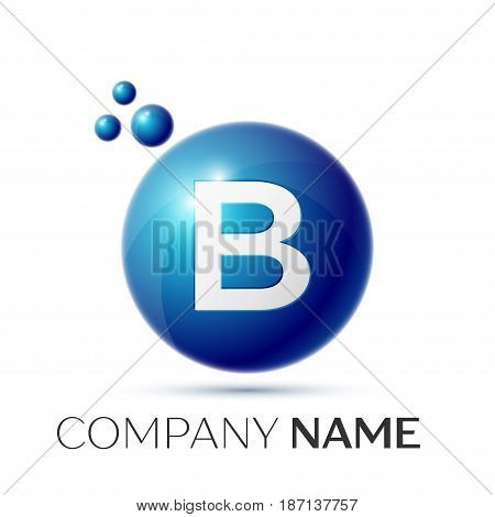 B Letter splash logo. Blue dots and circle bubble letter design on grey background. Vector Illustration
