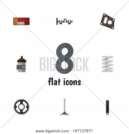 Flat Auto Set Of Headlight, Absorber, Steels Shafts And Other Vector Objects. Also Includes Gasket, Gear, Engine Elements.