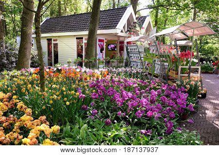 KEUKENHOF HOLLAND - MAY 14 2017: Kiosk selling flower bulbs in the Royal Keukenhof Park