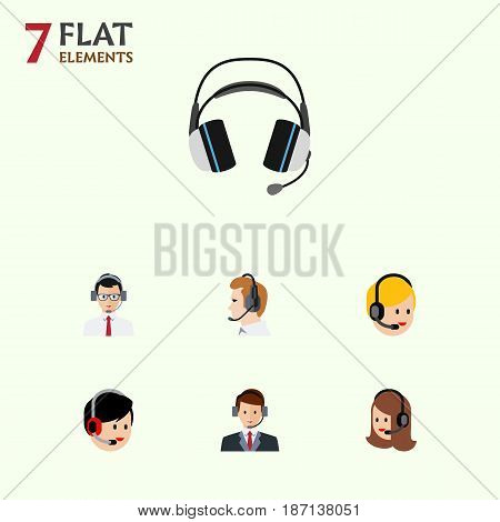 Flat Center Set Of Earphone, Hotline, Call Center And Other Vector Objects. Also Includes Headphone, Online, Center Elements.