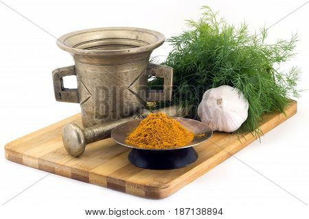 Composition Of Spices, Imerin Saffron, Dill, Garlic, Vintage Spice Grinder Isolated On White Backgro
