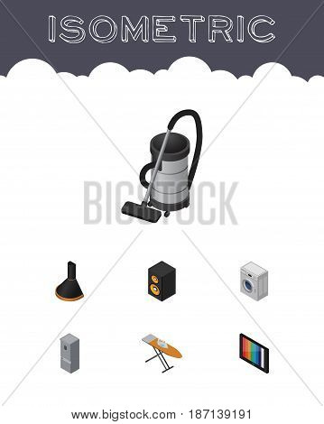 Isometric Electronics Set Of Vac, Kitchen Fridge, Music Box And Other Vector Objects. Also Includes Board, Loudspeaker, Ironing Elements.