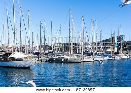 BARCELONA SPAIN - February 9, 2017: harbor with boats in Barcelona, is the capital city of the autonomous community of Catalonia in the Kingdom of Spain,February 9, 2017 in Barcelona Spain.