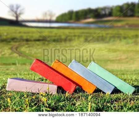 Multicolored books on the grass. Scenic spring landscape. The concept of education and learning. Outdoor office. Back to school.