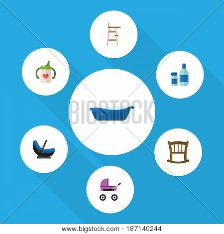 Flat Kid Set Of Nursing Bottle, Stroller, Bathtub And Other Vector Objects. Also Includes Bottle, Lotion, Stroller Elements.