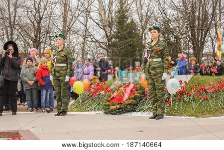 Kirishi, Russia - 9 May, The end of the ceremony and the laying of wreaths, 9 May, 2017. Laying wreaths and flowers in memory of the fallen at the Eternal Flame.