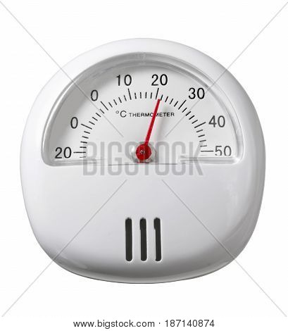 White Portable Thermometer on a White Background