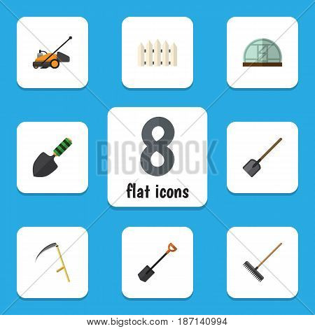 Flat  Set Of Cutter, Wooden Barrier, Harrow And Other Vector Objects. Also Includes Cutter, Barrier, Spatula Elements.