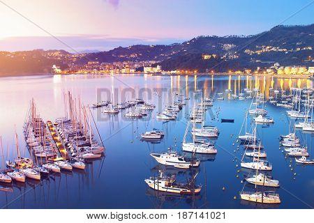 Sea Yachts At Sunset