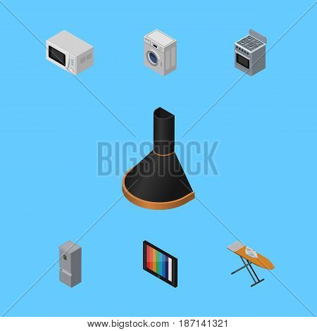 Isometric Technology Set Of Stove, Cloth Iron, Kitchen Fridge And Other Vector Objects. Also Includes Fridge, Hood, Stove Elements.