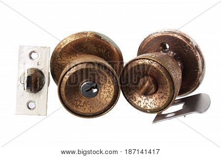 Door Knobs and Parts on White Background