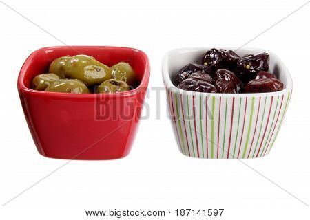 Bowls of Olives on a White Background