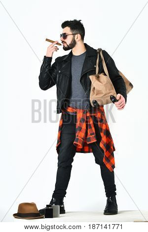 Bearded Man, Caucasian Hipster With Moustache Holding Stylish Bag