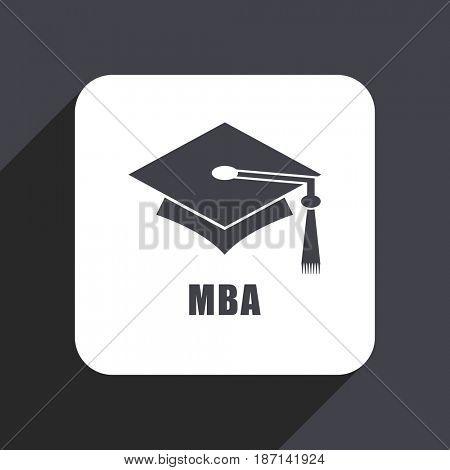 Mba flat design web icon isolated on gray background