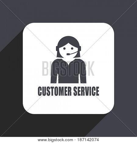 Customer service flat design web icon isolated on gray background