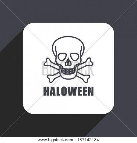 Haloween skull flat design web icon isolated on gray background