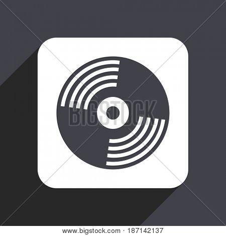 Vinyl music flat design web icon isolated on gray background